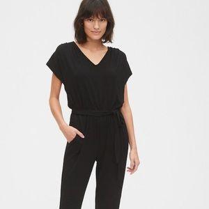 NEW! Softspun  wrap v-neck cropped BK jumpsuit, S